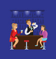 women with glasses barman making cocktail vector image vector image