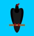 black raven isolated big bird on blue background vector image