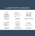 6 photo icons vector image vector image