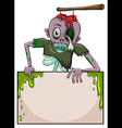 A zombie holding an empty signboard vector image vector image