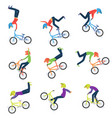 athlete performs bike stunts 9 high quality bmx vector image