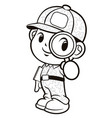 black and white soldier mascot and magnifier vector image vector image
