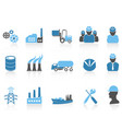 blue color series industry icons set vector image vector image