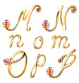 Bronze alphabet with colored gems letters MNOP vector image vector image