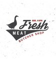 butcher meat shop with goose badge or label vector image