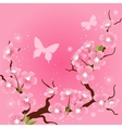 Card with stylized cherry blossom flowers vector | Price: 1 Credit (USD $1)