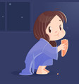 cartoon girl eating bread at night vector image vector image