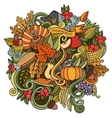 Cartoon hand drawn Doodle Thanksgiving vector image vector image