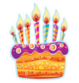 colorful birthday cake with candles vector image vector image