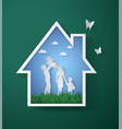 concept of happy family with homepaper art vector image