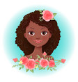 cute cartoon girl in a wreath roses vector image