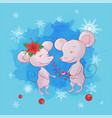 cute cartoon mouse boy and girl greeting card for vector image