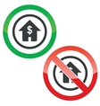 Dollar house permission signs vector image vector image