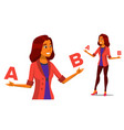 european woman comparing a with b creative vector image vector image