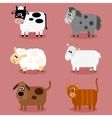 Funny farm animals and pets collection vector image vector image