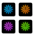 glowing neon cute sun with smile icon isolated on vector image