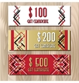 Golden red gift certificate template in art deco vector image vector image