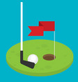 golf flag with ball flat style design vector image