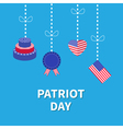 Hanging heart flag cake Star and strip Patriot vector image vector image
