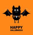 happy halloween flying bat holding bunting flag