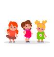happy kids setthree cartoon girls characters vector image
