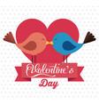 happy valentines card with cute bird couple in vector image vector image