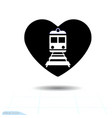 heart black icon love symbol train icon in vector image vector image