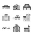 isolated object of building and front sign set of vector image