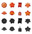 isolated object of emblem and badge icon set of vector image vector image
