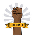 juneteenth day hand fist raise ribbon image vector image