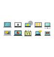laptop icon set flat style vector image