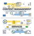 line art content management poster banner vector image