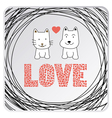 Love cat and dog card3 vector image vector image