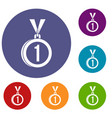 medal for first place icons set vector image vector image