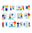 online banking icons flat set vector image vector image