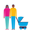 parents with baby pram family vector image