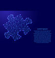 puzzle one piece from futuristic polygonal blue vector image