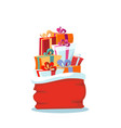red santa claus bag with christmas presents on vector image vector image
