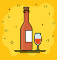 red wine and wineglass cartoon vector image