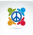 Round antiwar icon no war symbol People of all vector image vector image