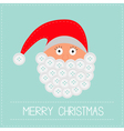 Santa Claus face with button beard Merry Christmas vector image