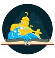 sci-fi book with submarine vector image vector image
