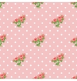 Seamless pattern with roses and polka dots vector image
