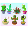 set cute cartoon cactuses in pots vector image