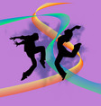 set of dancers silhouette vector image vector image