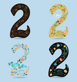 set of numbers two with country floral decor vector image vector image