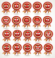 set of red awards in various emotional states vector image vector image