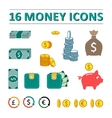 sixteen money icons set vector image vector image