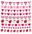 Valentines Day bunting and decoration set vector image vector image