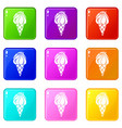 wafer ice cream icons set 9 color collection vector image vector image